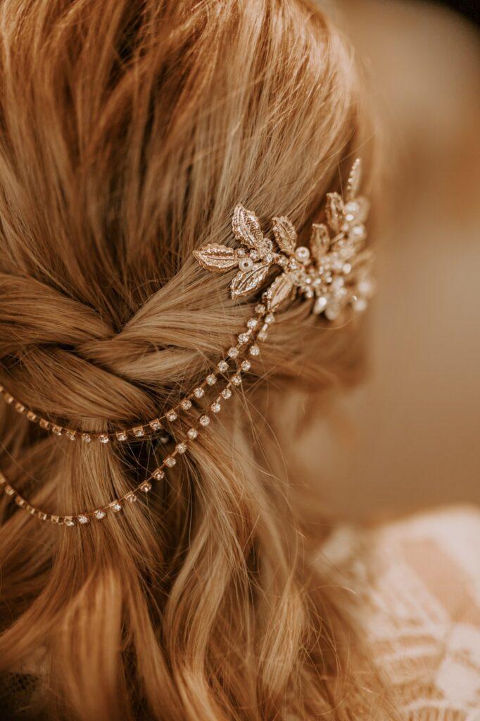 Blatt Kopfschmuck mit Kette Braut