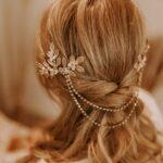 Boho Kopfschmuck Gold mit Blättern und feiner Kette