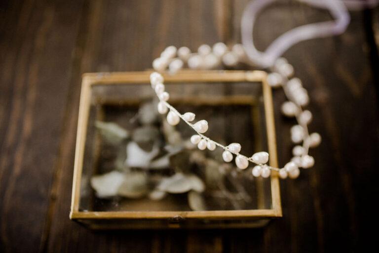 Boho Vintage Wedding Brauthaarschmuck mit Süßwasserperlen Silber