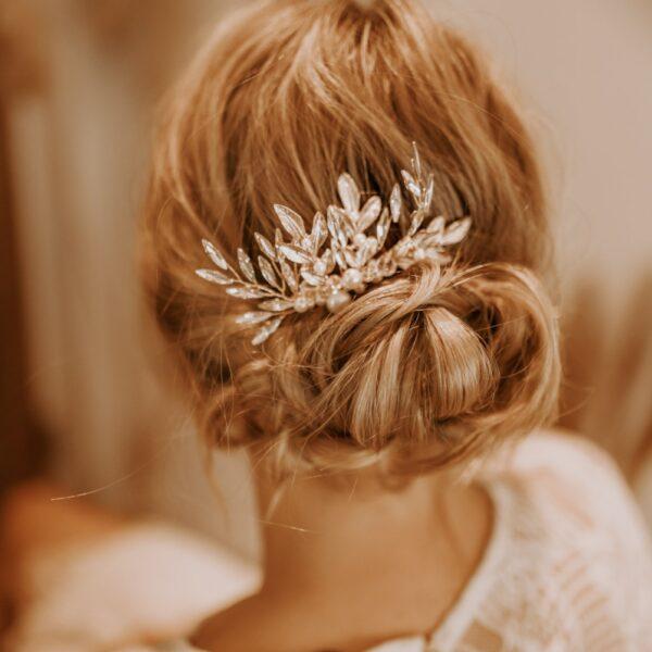 Braut Haarkamm Gold mit Blätter Perlen