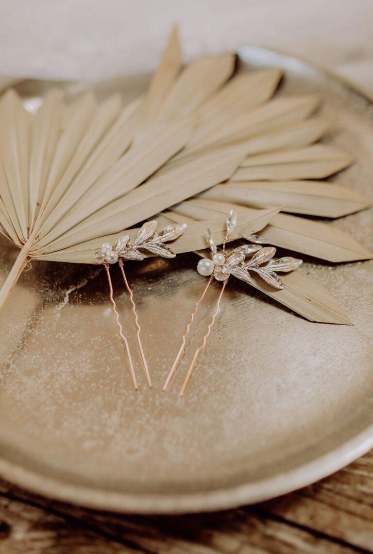 Braut Haarnadel Gold Blatt und Perle