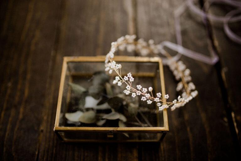 Braut Haarschmuck mit Kristallperlen Gold für Boho Vintage Hochzeit