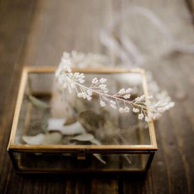 Braut Haarschmuck mit Kristallperlen Silber