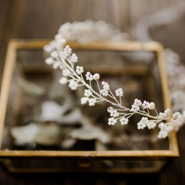 Braut Haarschmuck mit Kristallperlen Silber für Boho Vintage Hochzeit