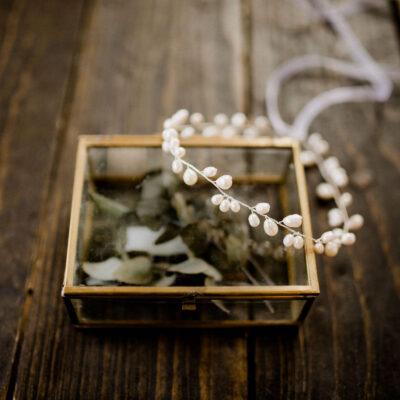 Braut Haarschmuck mit Süßwasserperlen Silber