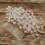 Haarkamm Braut Silber mit Perlen (groß)