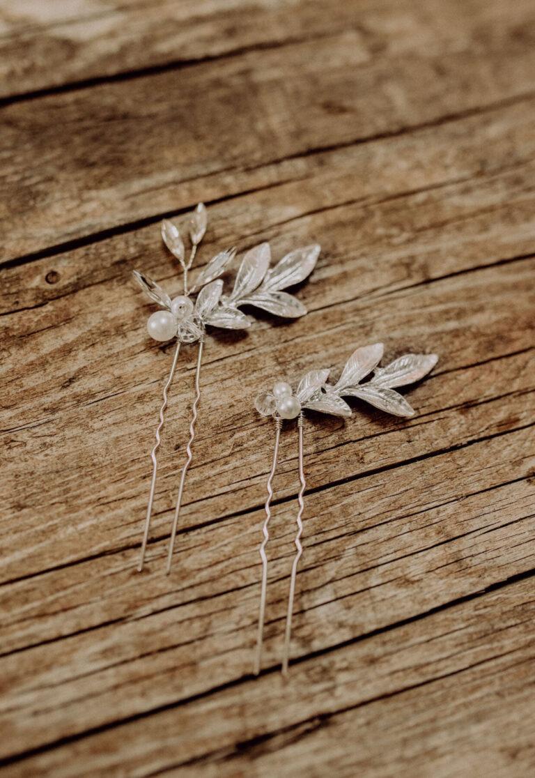 Brauthaarnadel Silber Boho Blatt und Perle