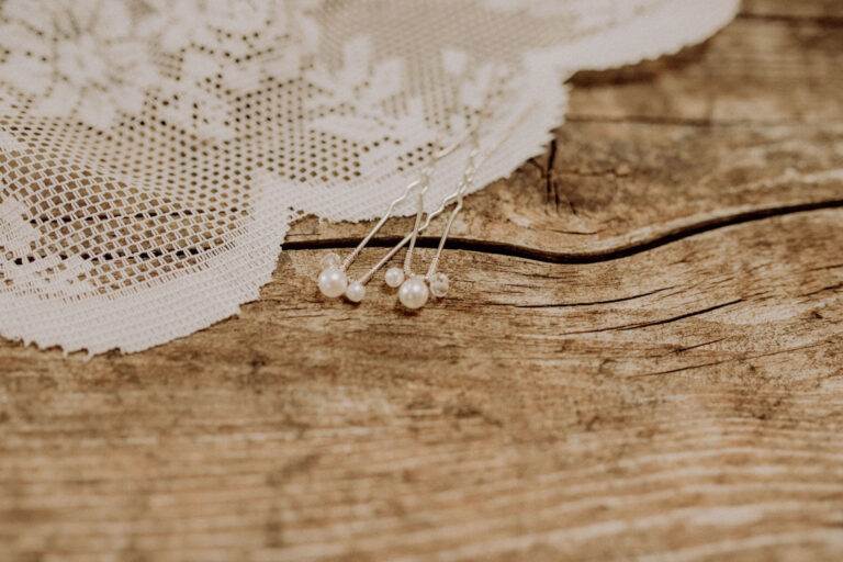 Brauthaarnadel Silber mit Perlen Vintage Boho Wedding