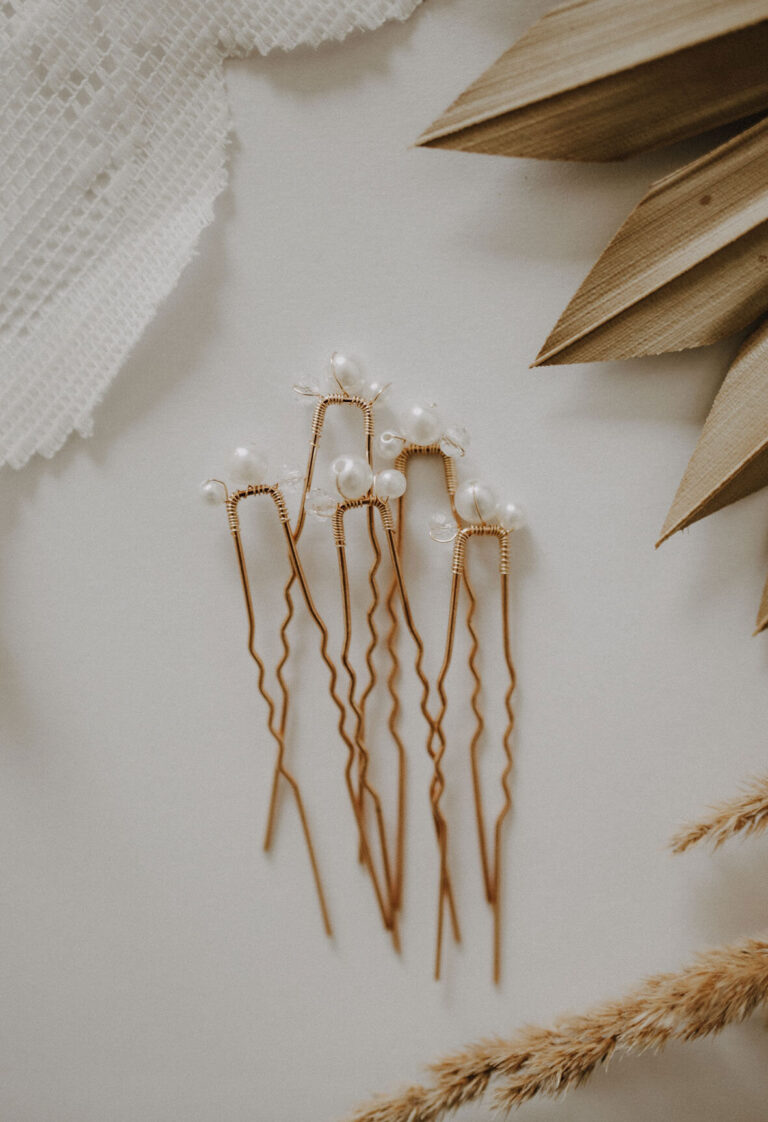 Brauthaarnadeln Gold mit Perlen