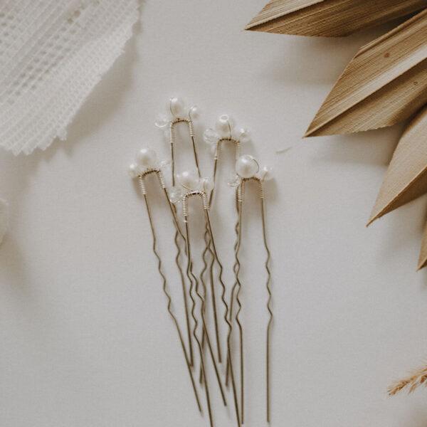 Brauthaarnadeln in silber mit Perlen