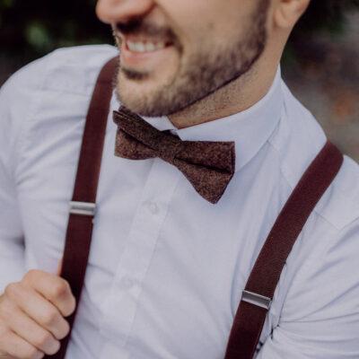Dunkelbraune Herrenhosenträger passend für Bräutigam