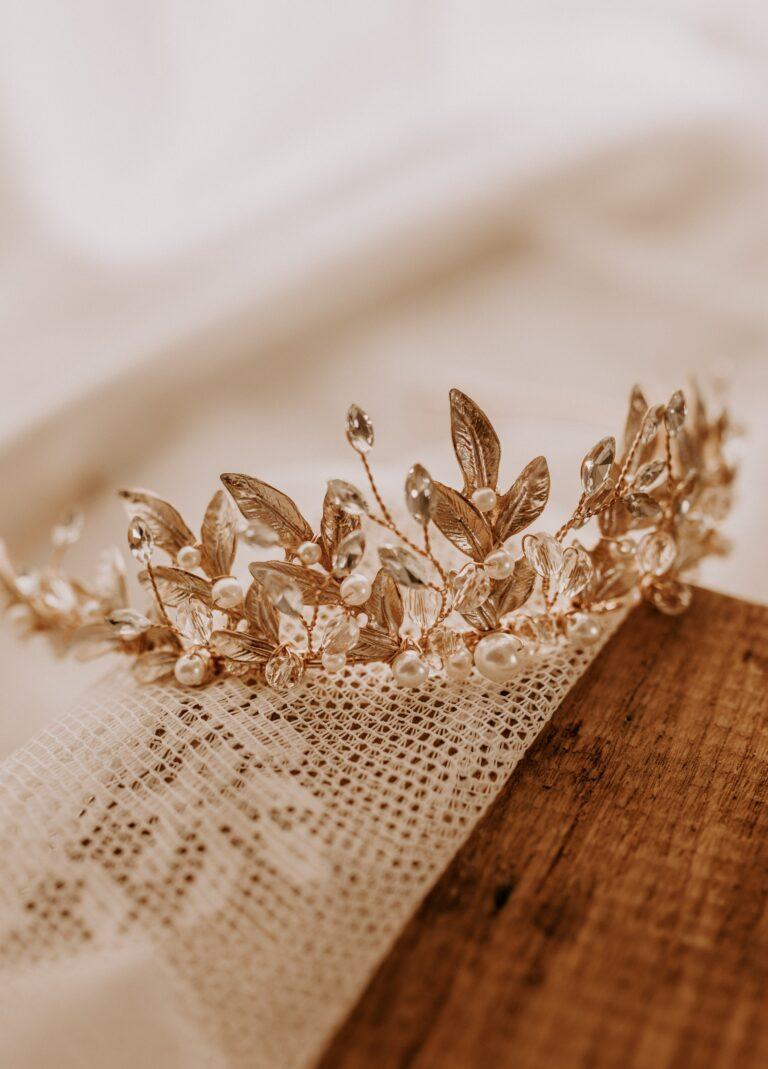 Gold Haarschmuck Krone Braut Gold