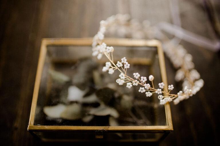 Goldener Haarschmuck Headpiece Braut mit Kristallperlen Boho Vintage Hochzeit Wedding