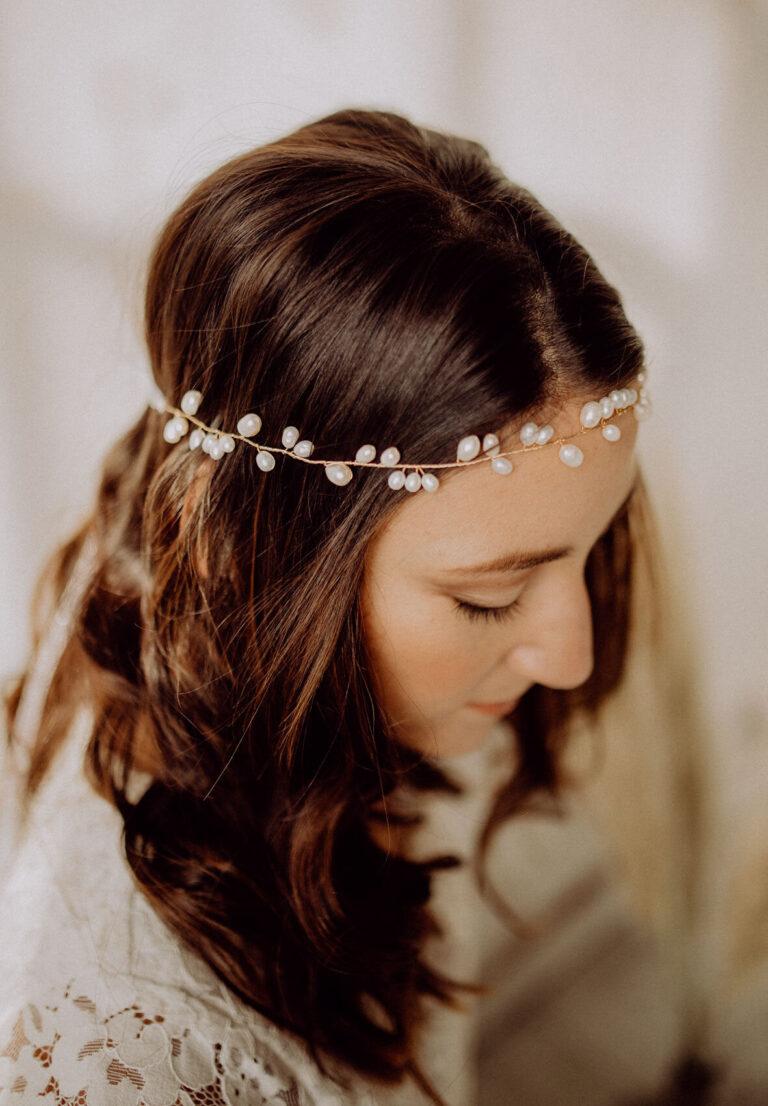 Goldener Haarschmuck Süßwasserperlen Gold für Boho Vintage Wedding