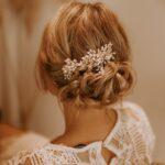 Haarkamm Perlen Verzierung Braut Gold