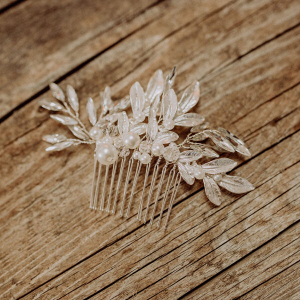 Haarkamm Braut Silber Blatt