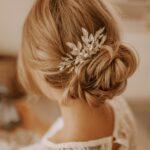 Haarkamm Hochzeit Silber mit Blätter und Perlen