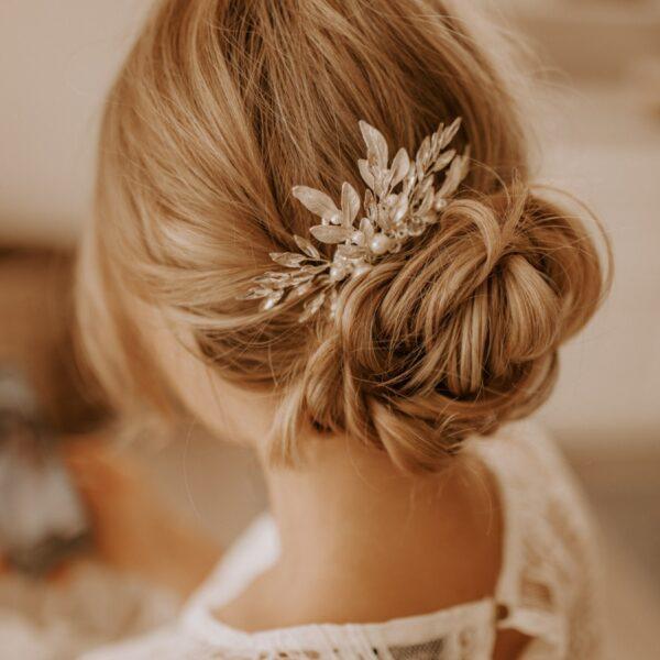 Haarkamm Hochzeit Silber mit Blätter Perlen