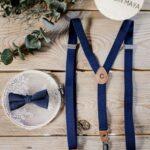 Set: Herrenfliege & Herrenhosenträger dunkelblau - inklusive Gravur
