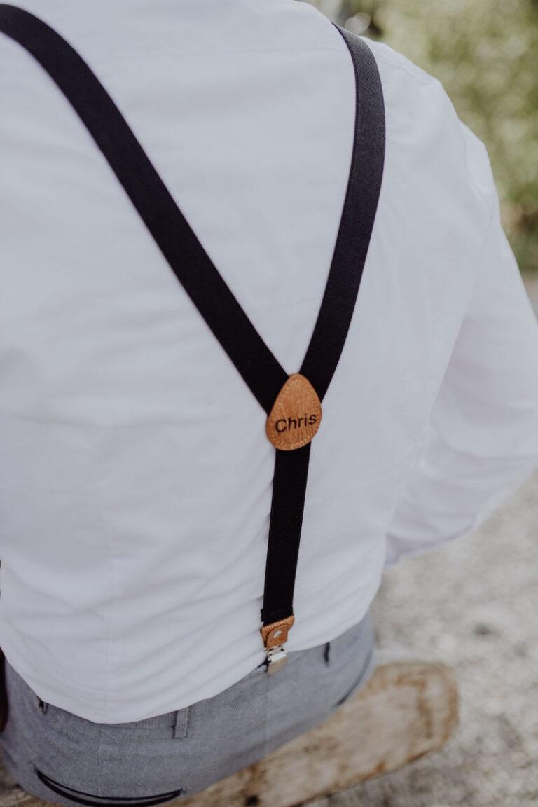 Herrenhosenträger schwarz von hinten passend für Taufe oder Hochzeit