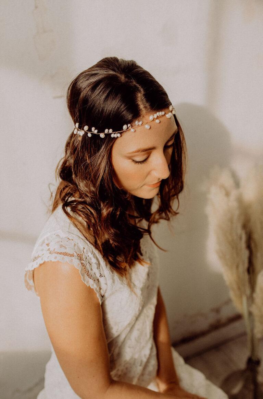Hochzeitsfrisur Brautfrisur Süßwasserperlen Gold