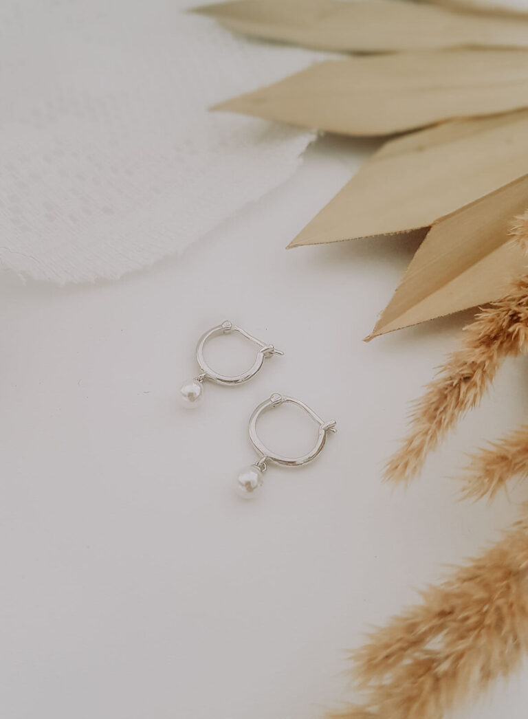 Hoop Ohrringe Silber mit Perle für Braut