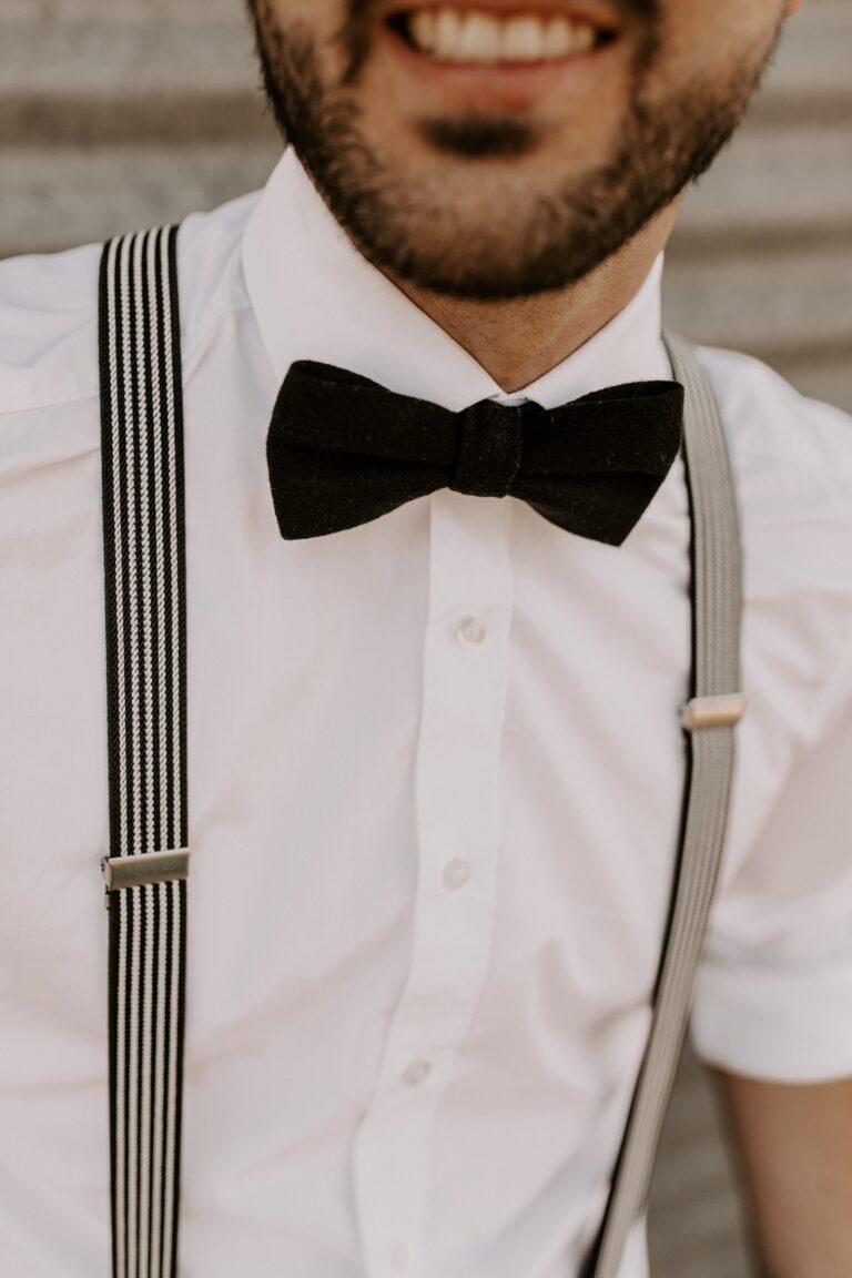 Hosenträger Fliege Set schwarz weiss Hochzeit