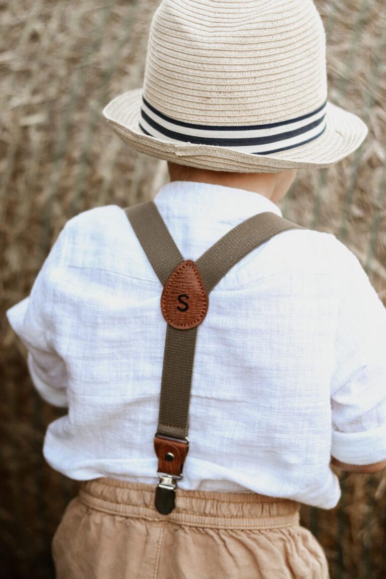Hosenträger für Kinder mit Name Khaki