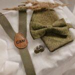 4-teiliges Set: Hosenträger, Fliege, Einstecktuch & Manschettenknöpfe khaki