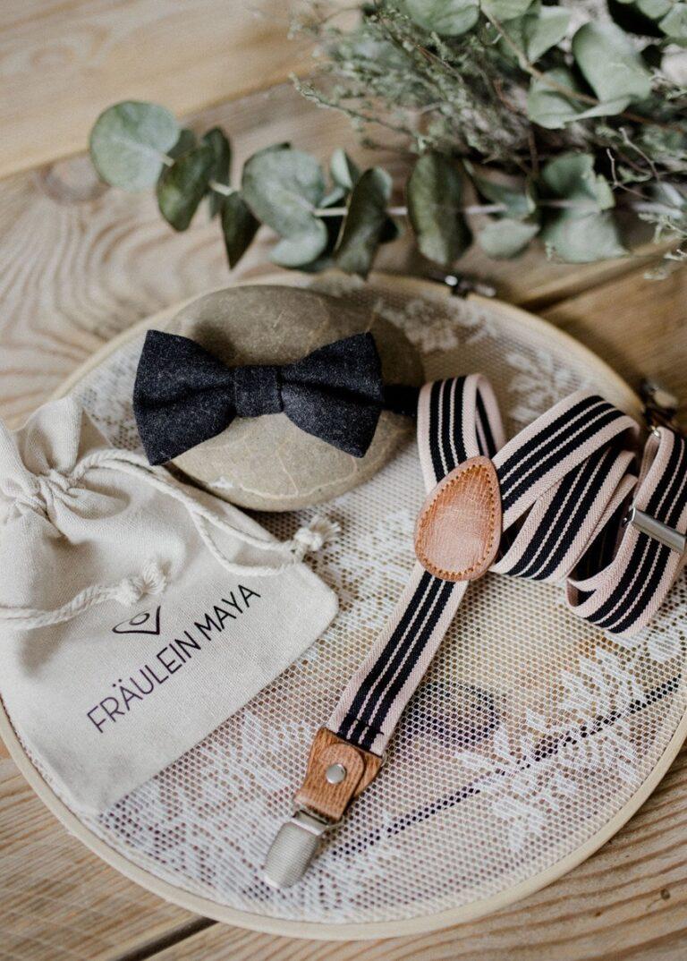 Kinderfliege Kinderhosenträger schwarz beige Hochzeit
