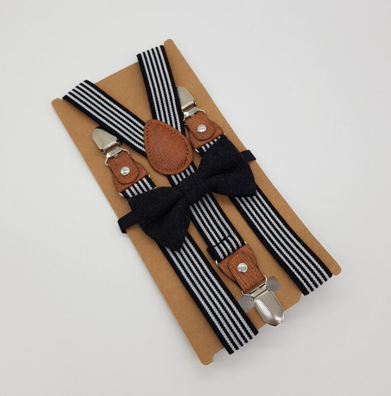 Kinderfliege mit Kinderhosenträger Set schwarz weiss