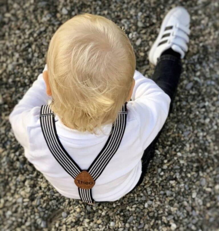 Kinderhosenträger Schwarz Weiss Theo Tragebild