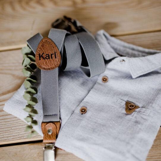 Kinderhosenträger grau mit Hemd