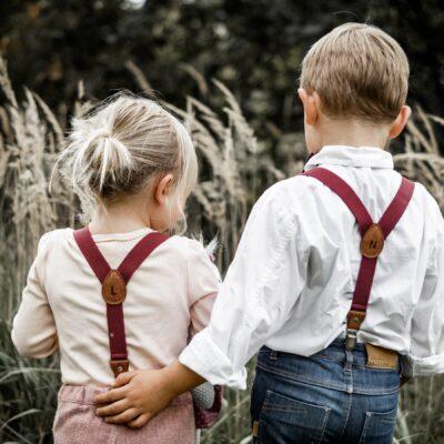 Kinderhosenträger im Partnerlook in weinrot - Hosenträger für Kinder
