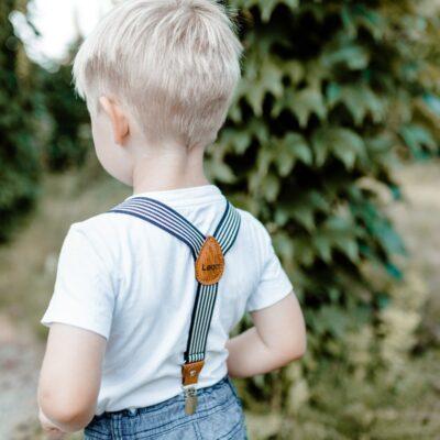 Kinderhosenträger schwarz weiss Leon hinten