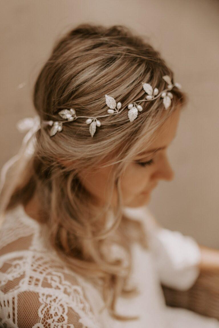 Kopfschmuck Blätter Perlen Silber