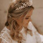 Krone Braut Gold mit Blätter und Perlen
