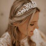 Krone Braut Silber mit Blätter und Perlen