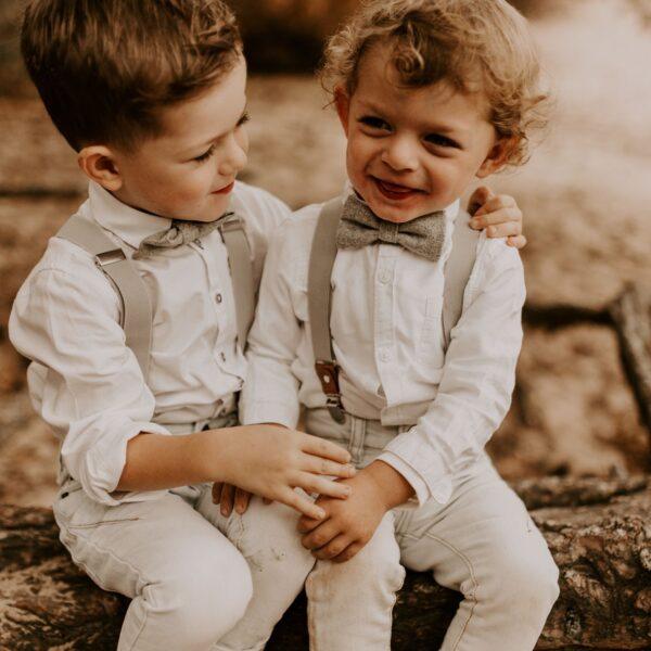 Partnerlook für Geschwister Fliege Hosenträger