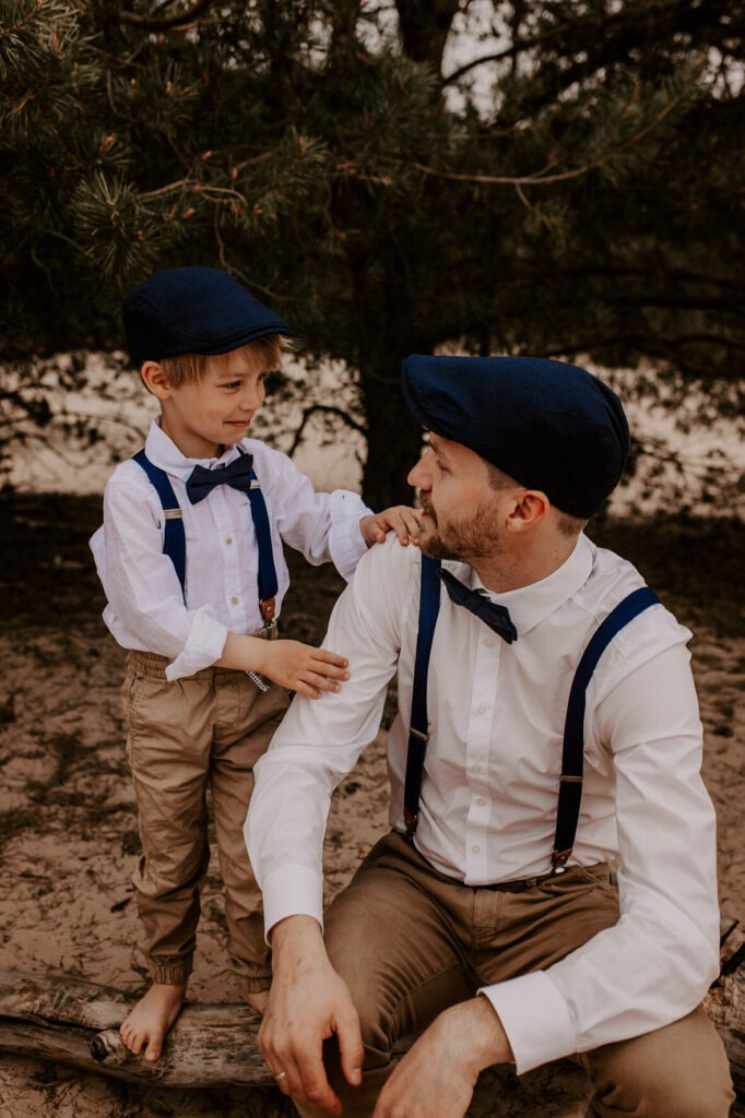 Schiebermütze Schirmmütze Vater Sohn dunkelblau