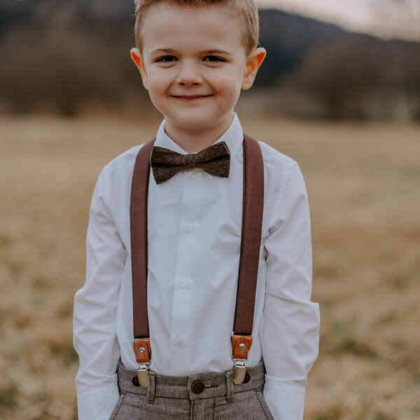 Set Hosenträger Fleige Kinder Hochzeit braun