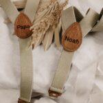 Set: Kinderhosenträger & Herrenhosenträger beige - inklusive Gravur