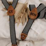 Set: Kinderhosenträger & Herrenhosenträger schwarz/weiß - inklusive Gravur