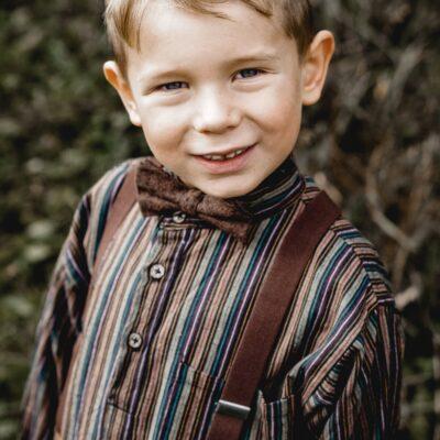 Set Kinderhosenträger Kinderfliege in Braun