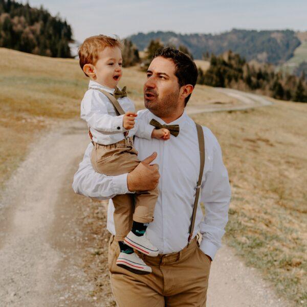 Set Vater Sohn Fliege Hosenträger Khaki