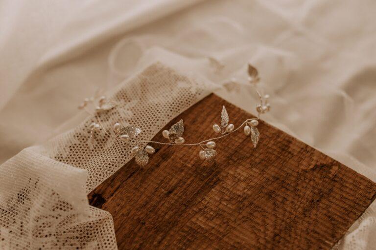 Silberfarben Haarschmuck Braut Boho Blätter Perlen