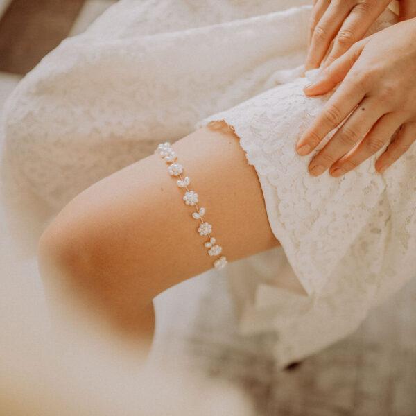 Strumpfband Perlen optimal für Hochzeit
