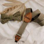 Set: Kinderhosenträger & Kinderfliege in khaki – inklusive Gravur